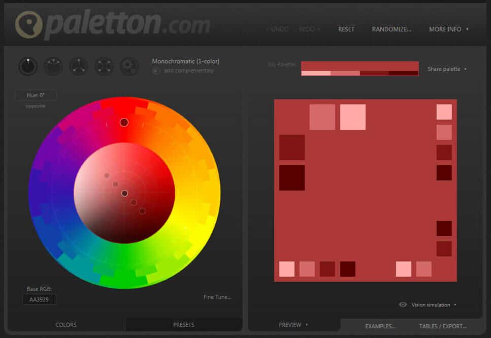 簡単な操作で直感的に色を組み合わせることができるPaletton