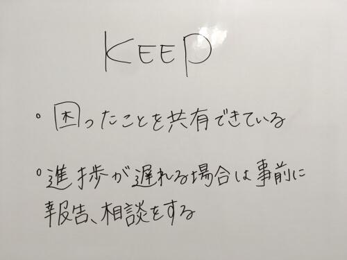 Keepは上手くいったことや、自分が意識して行動したことが良い結果をもたらせたなと思えたものを挙げていきます。