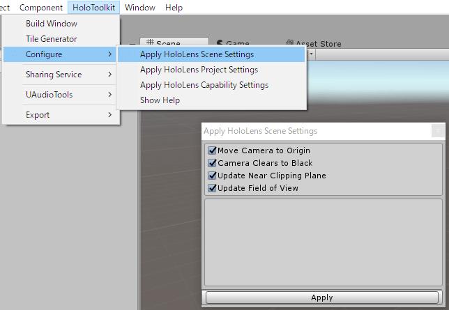 HoloToolkitメニューのConfigureによる設定