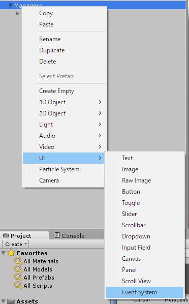 UI>EventSystemを選択します