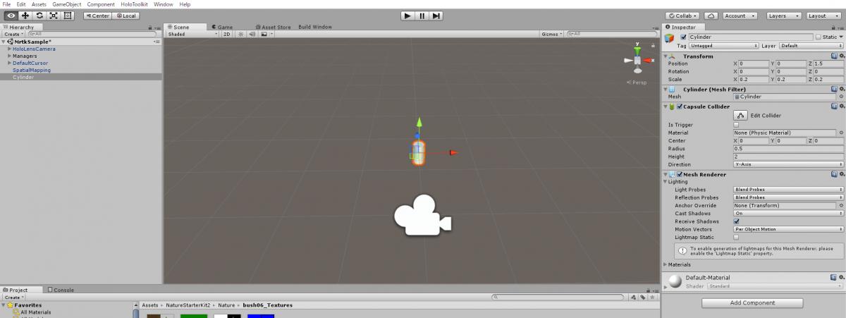 適当な3Dオブジェクトを「Hierarchyビュー」直下に配置してください