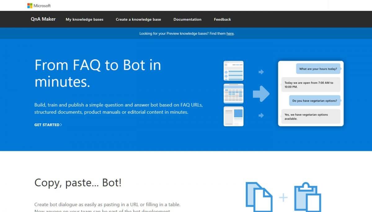 QnA Maker のコンソール画面