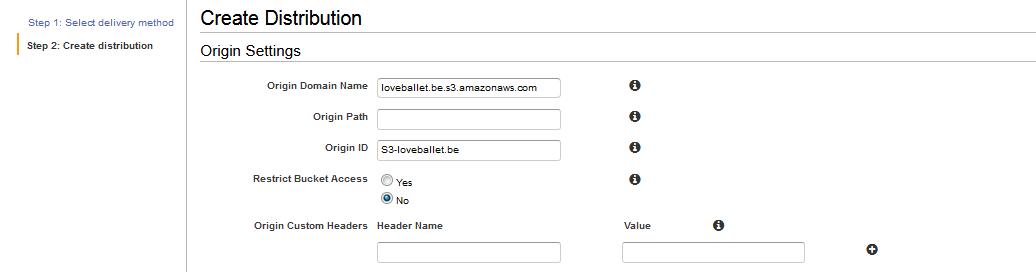 "「Origin Domain Name」で""loveballet.be.s3.amazonaws.com""を選択する"