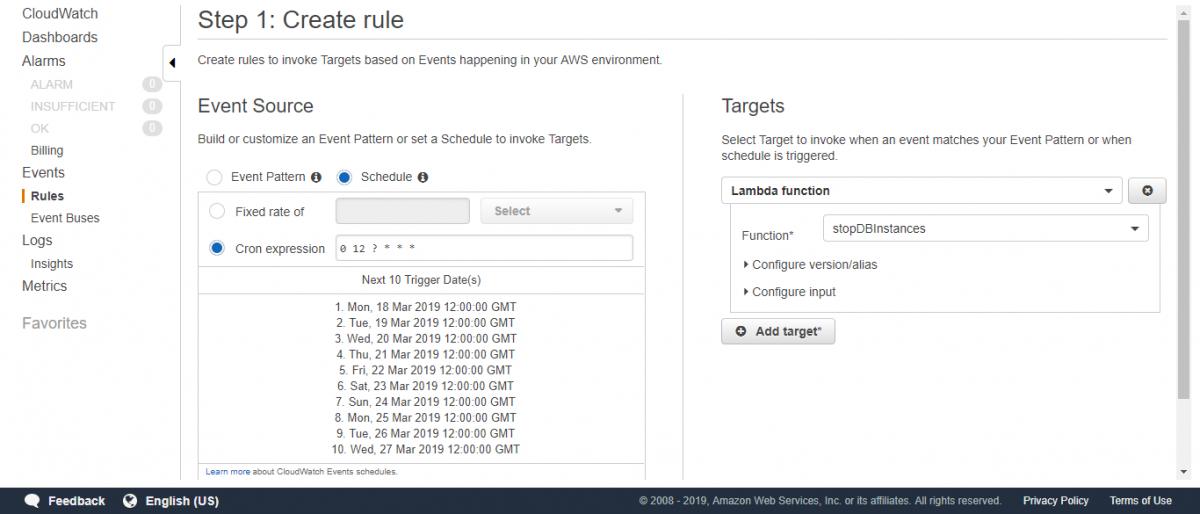 定期実行用CloudWatchイベントルール