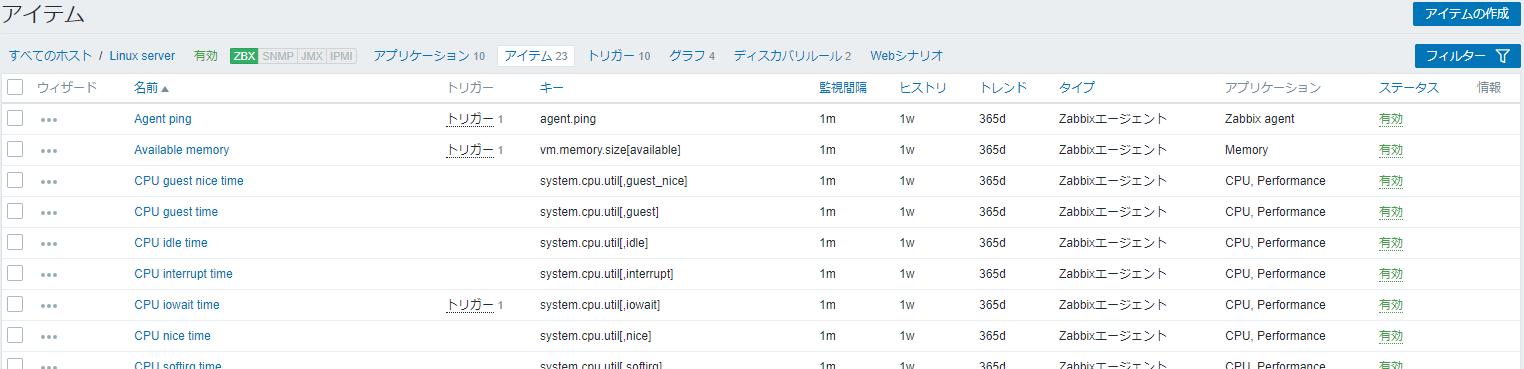 Zabbixのアイテム一覧画面