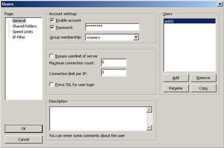 FileZilla Server Users画面にてユーザー追加