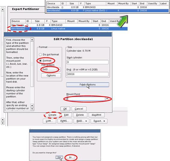 YaST DASD Disk Management Expert Partitioner