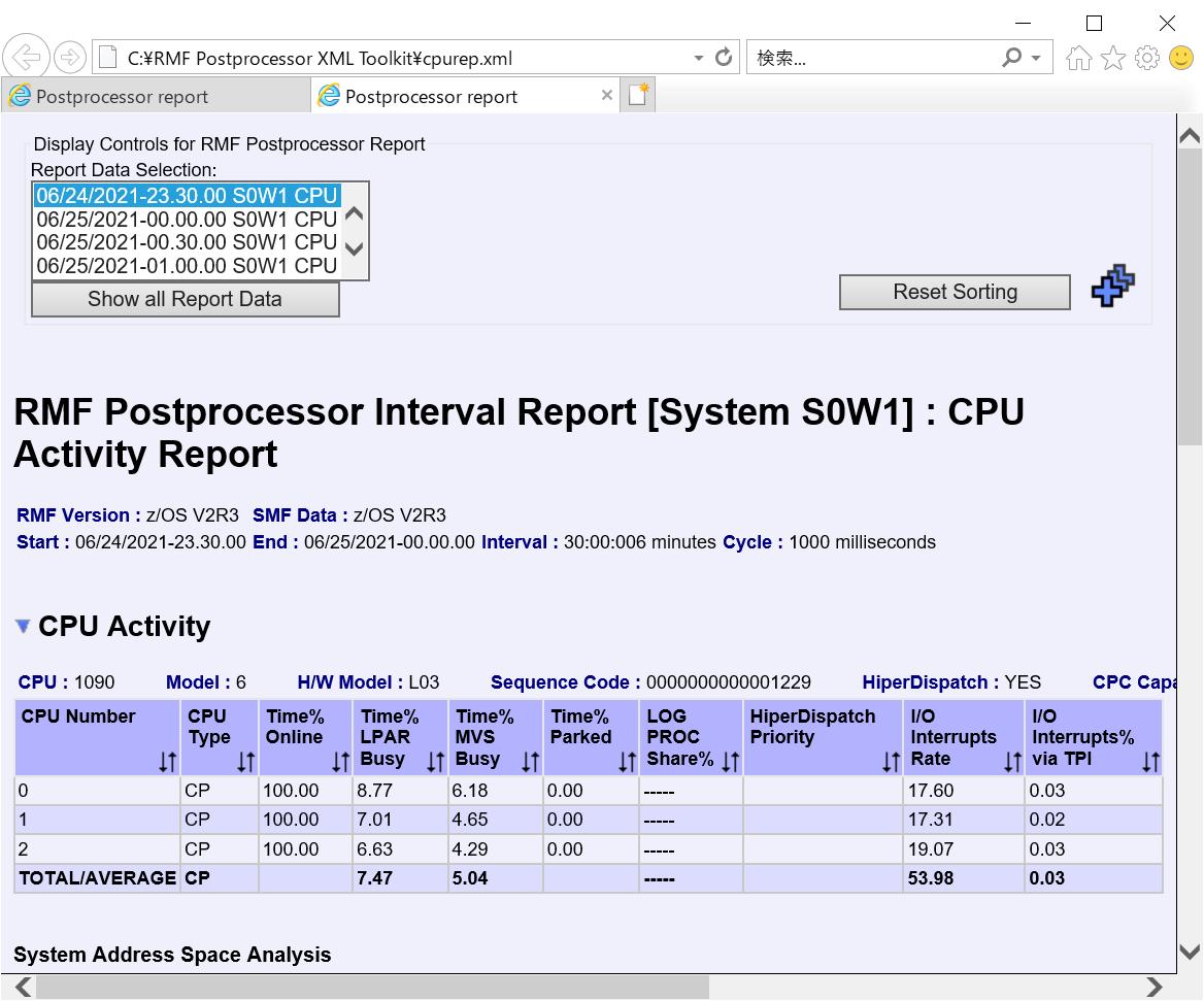RMF Postprocessor XML Toolkit間隔レポート表示